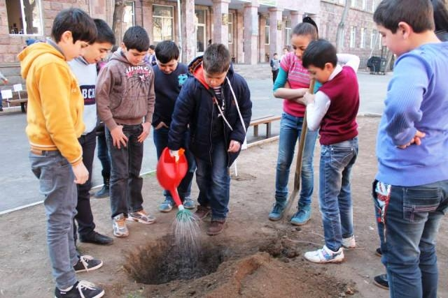 Syrian Armenian pupils have planted trees in the school yard