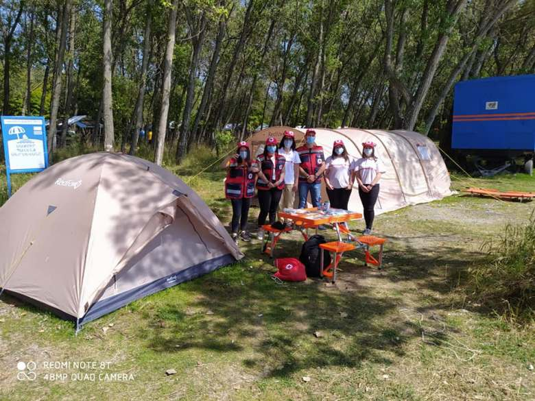 the Armenian Red Cross Society was on duty on the public beach of Lake Sevan